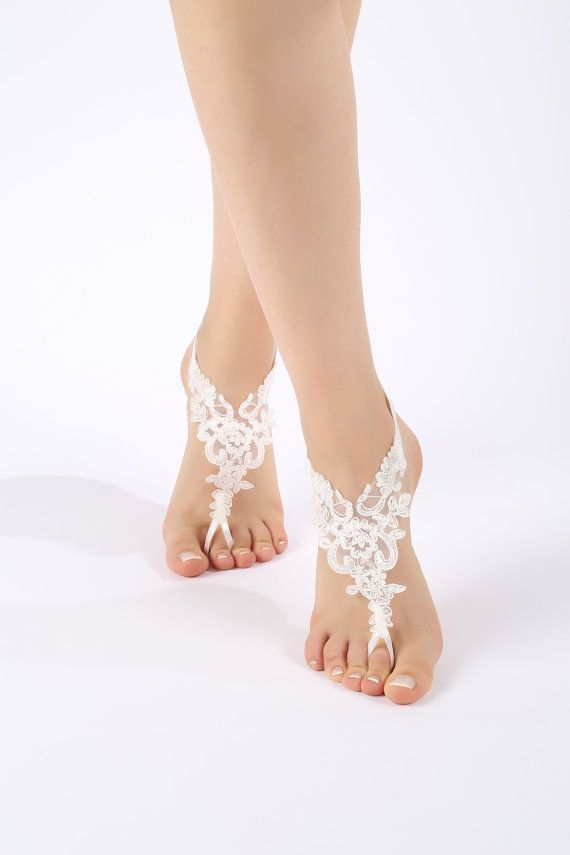 Free Ship ivory or white  flexible lace sandals by ByMiracleBridal