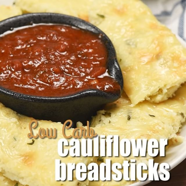 These Low Carb Cauliflower Breadsticks by @aubrey_realhousemoms are the BOMB and so cheesy I died! The details are on @aubrey_realhousemoms page just in time for your weekend!