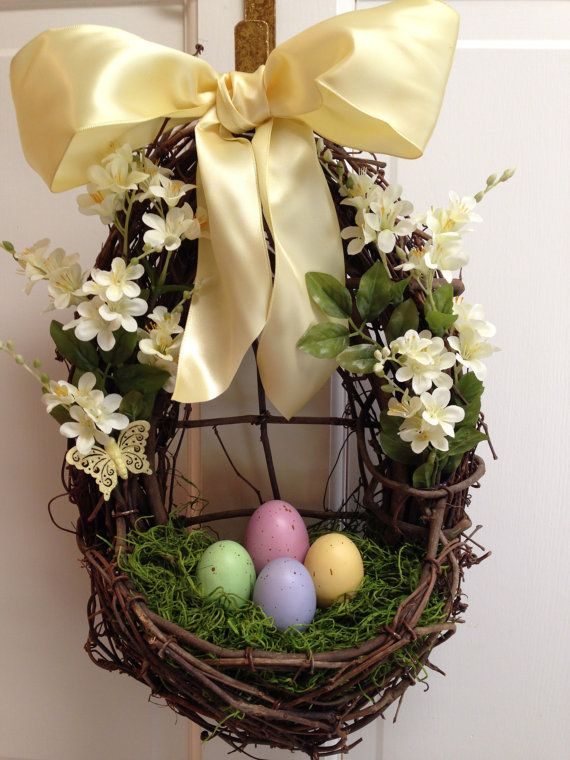 Easter Egg Door Basket Easter Egg Wreath by CelebrateAndDecorate, $39.50