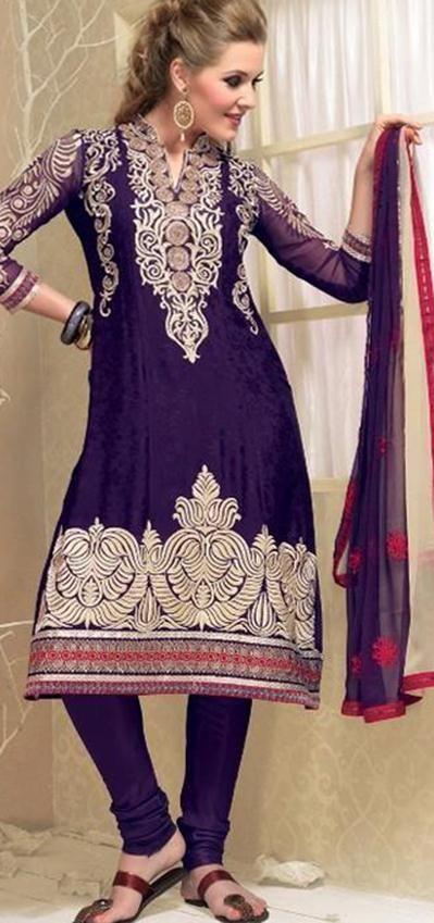 $80.92 Purple Full Sleeve Jacquard Knee Length Punjabi Salwar Kameez 18329