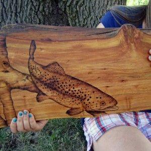 fishing cabin decor   Log Cabin Trout Wood Art, Rustic Fishing Decor, Woodburned...   Shop ...