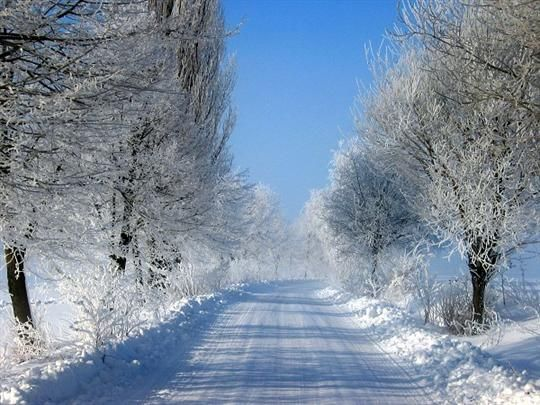 Winter road at Pravonín, Blaník region, Central Bohemia, Czechia