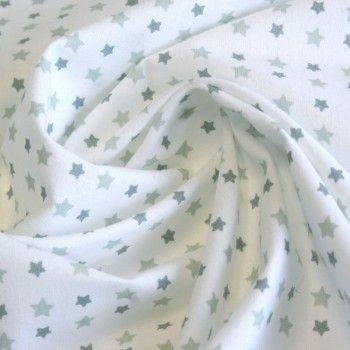 Tissu de coton blanc à petites étoiles grises - Oekotex