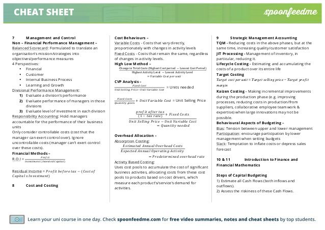 Cheat sheet for income statement