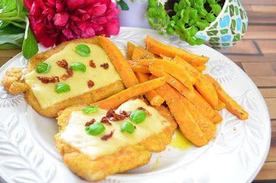 Aga w kuchni: Kotlety zapiekane z serem i frytki z batatów