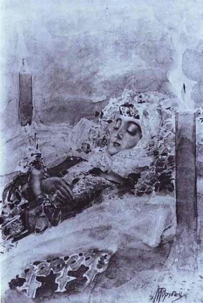 Tamara+Lying+in+State,+1891+-+Mikhail+Vrubel