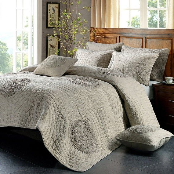 Luxury 100 Cotton Coverlet Bedspread Set Embroidery Quilt King Super King Size Bed 240x260cm Circle Brown In 2020 Bedspread Set Super King Size Bed King Size Bed