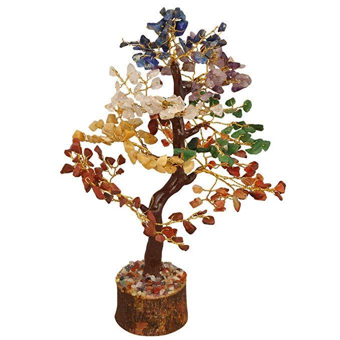Seven Chakra Golden Wire Healing Stone Feng Shui Bonsai Money Tree 10 Inch