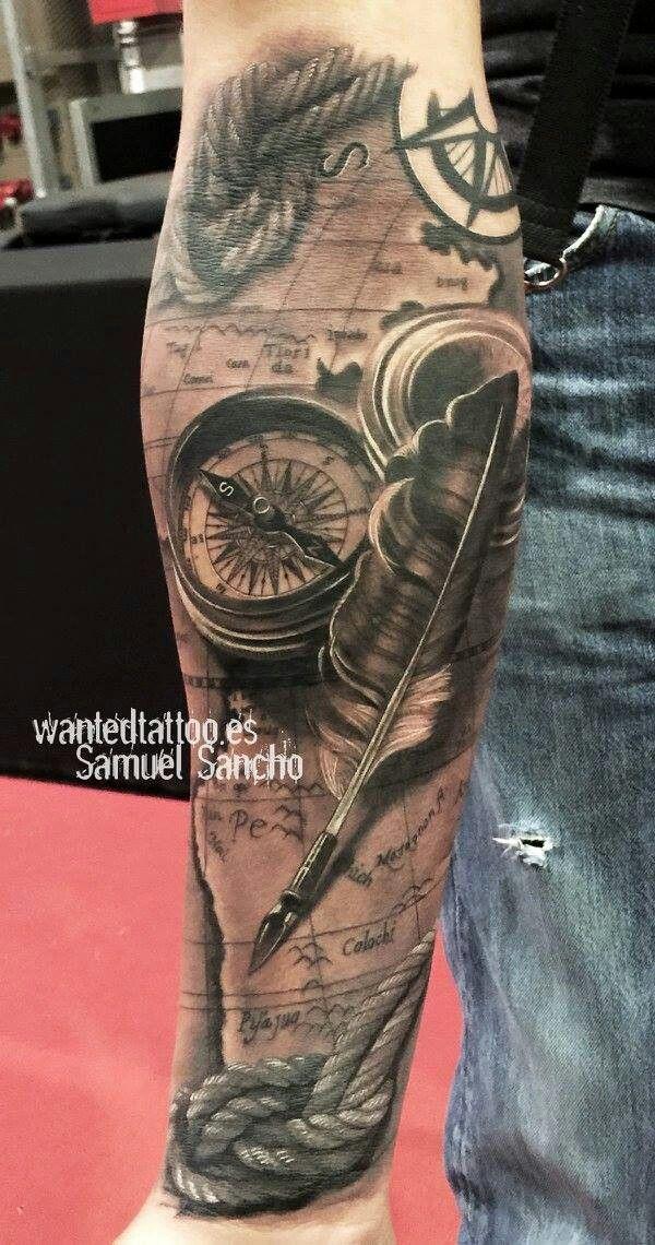 Pen und Brujula innen #SleeveTattoos #brujula #innen #sleevetattoos #Tattoos