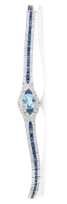 Art Deco Platinum, Aquamarine, Diamond and Sapphire Bracelet   circa 1920.
