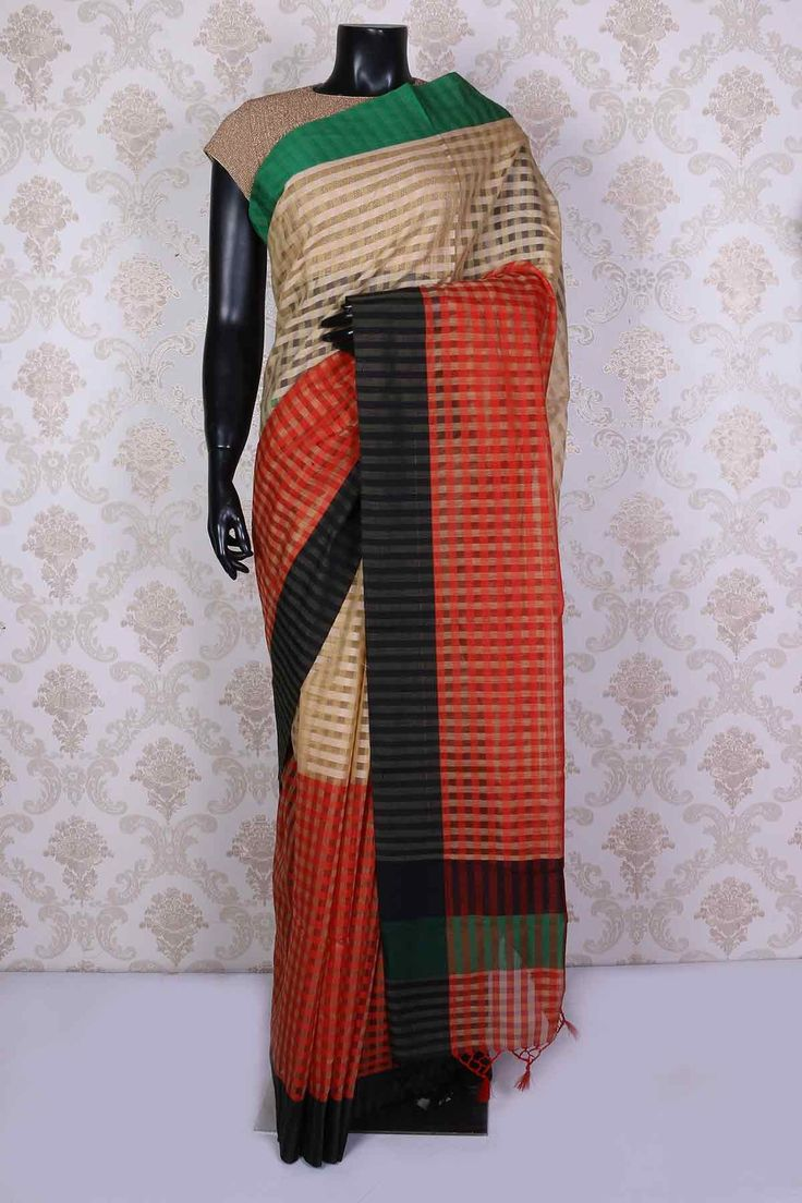Beige & red silk cotton saree with black & leaf green border -SR15286 | silk cotton sarees online India