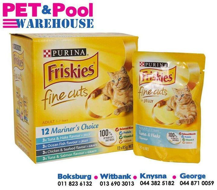 Friskies fine cuts, suits every age and lifestyle and will satisfy even the most discerning cat with delicious, complete and balanced meals, available from your nearest #PetPoolWarehouse branch. #Friskies #lovemycat