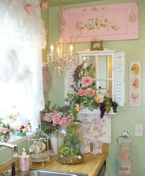 Lots Of Fun Ideas For Decorating A Shabby Cottage Kitchen With Green Pink And White Mini Tiny Chandelier Flowers Vintage Painted Tray