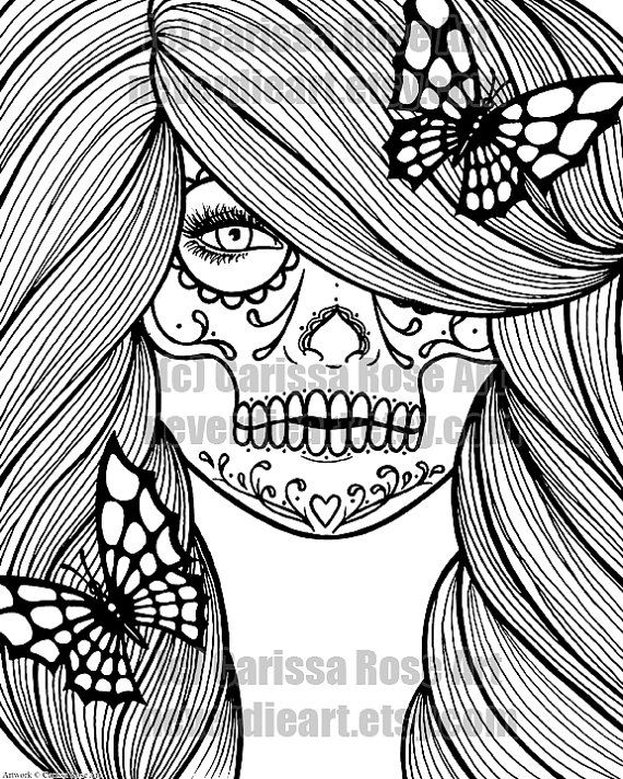 digital download print your own coloring book outline page day of the dead girl with - Coloring Pages Roses Skulls