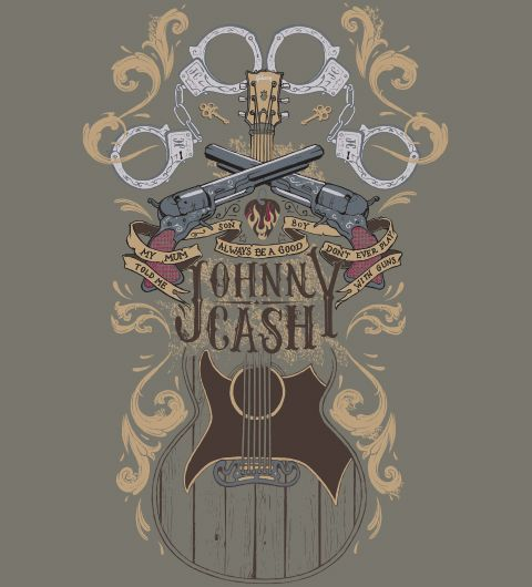 "T-shirt Jhonny Cash ""Folsom Prison Blues"" na Reverbcity"