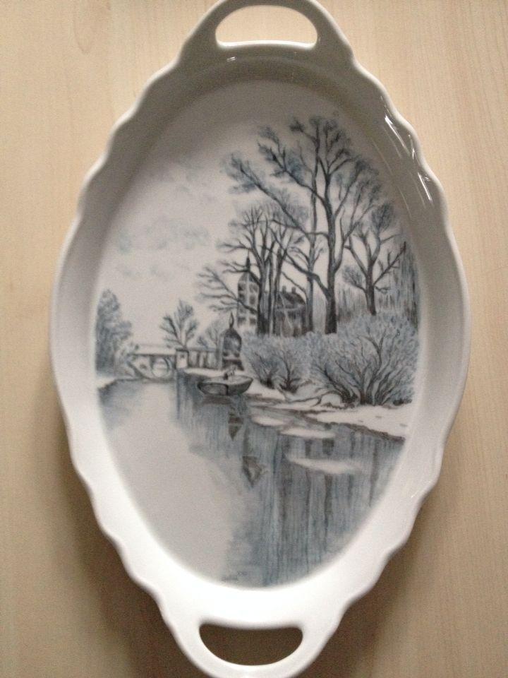 Servírovací tác * oválný bílý porcelán s krásným malovaným obrázkem - vodní zátiší ♥