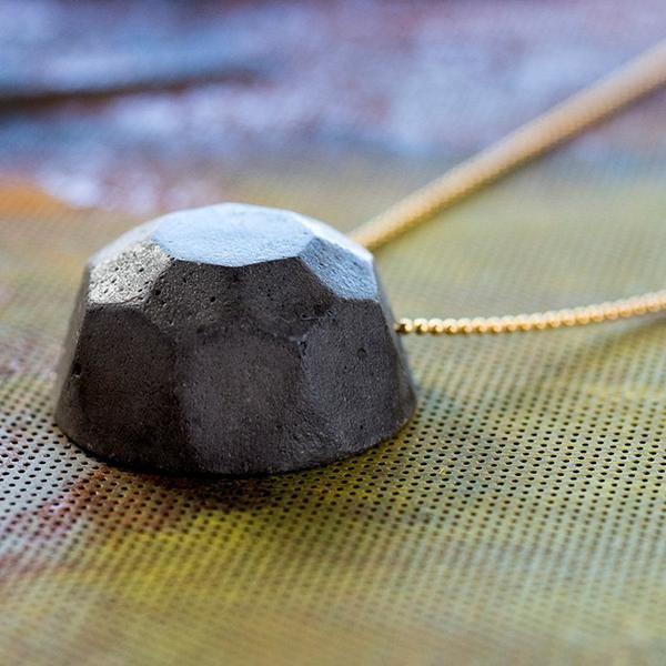 Gem Concrete Necklace - Dark Jem on a Goldfield Chain, by BAARA Jewelry