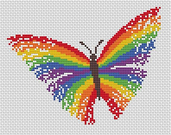 Striking and bright cross stitch pattern of a magical rainbow butterfly. If you would prefer to stitch a small version of the butterfly, please see this listing: https://www.etsy.com/uk/listing/269129682/  • Stitch count: 89 wide x 68 high • Approximate size on 14 count aida: 6.4in wide x 4.9in high (16.2cm wide x 12.3cm high) • 7 colours, DMC numbers given • Uses full cross stitches; no backstitch or fractional stitches • Stitch on fabric of your colour choice (image is shown on white…