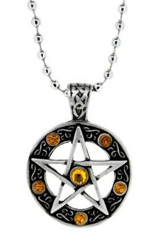 Yellow Stones Pentagram Pendant - Necklace