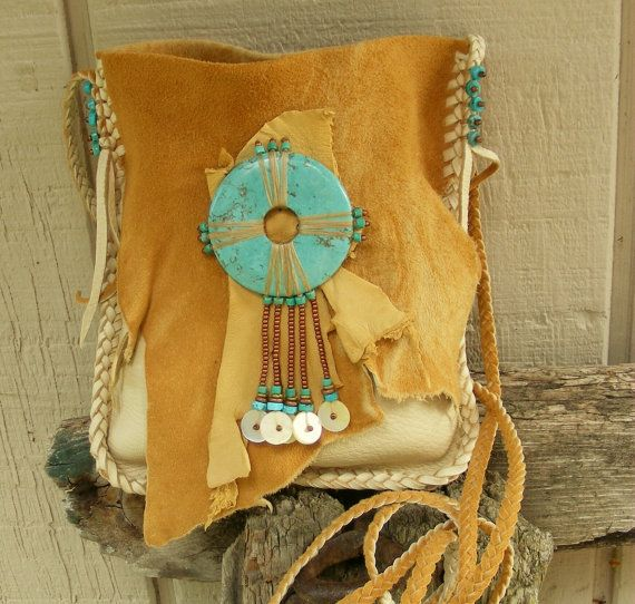 Inspiration: NATIVE SKIES deerskin leather Purse Medicine Bag / Spirit Pouch / Shaman Bag with Turquoise