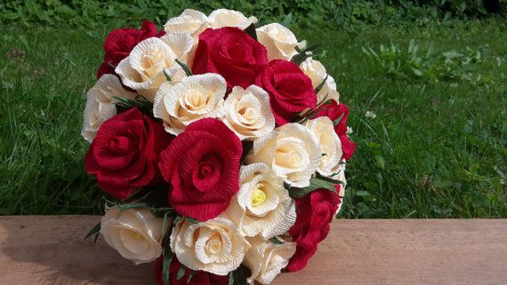 Red Ivory Bride Bouquet Wedding Flowers crepe by moniaflowers