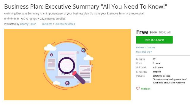 Coupon Udemy - Business Plan Executive Summary  - executive summary