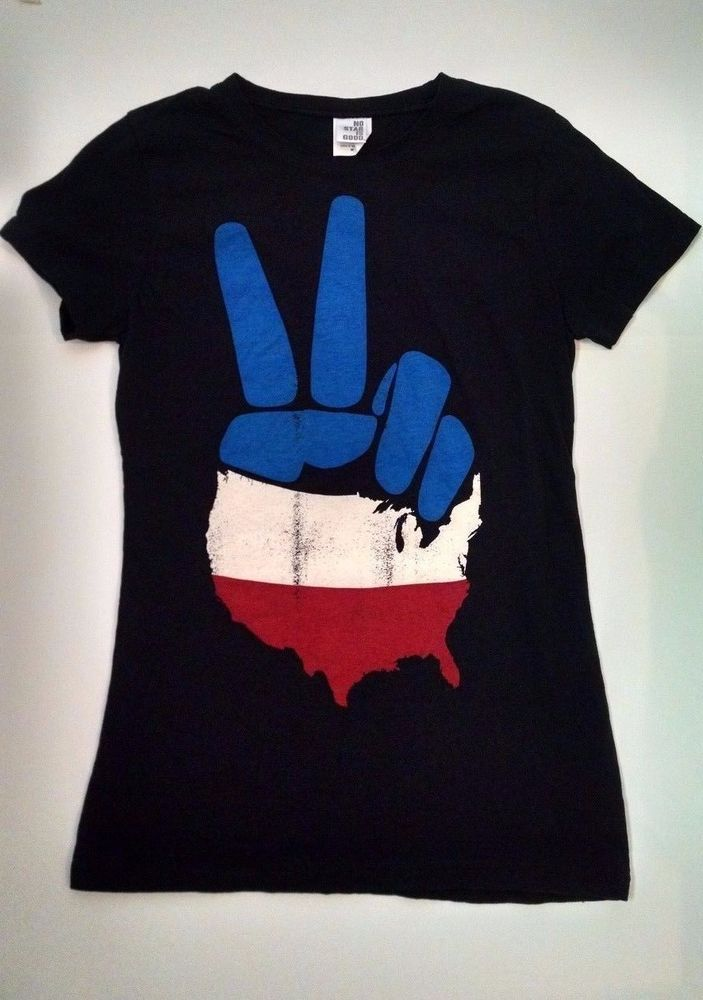 USA PEACE No Star is Good T-shirt Womens M Black Flag Peace Sign Fingers New #NoStarisGood #GraphicTee