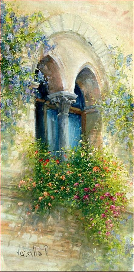 ✿Flowers at the window & door✿ Old Window ~ Antonietta Varallo