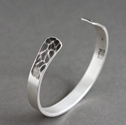 Men's Silver Bangle Cuff Bracelet