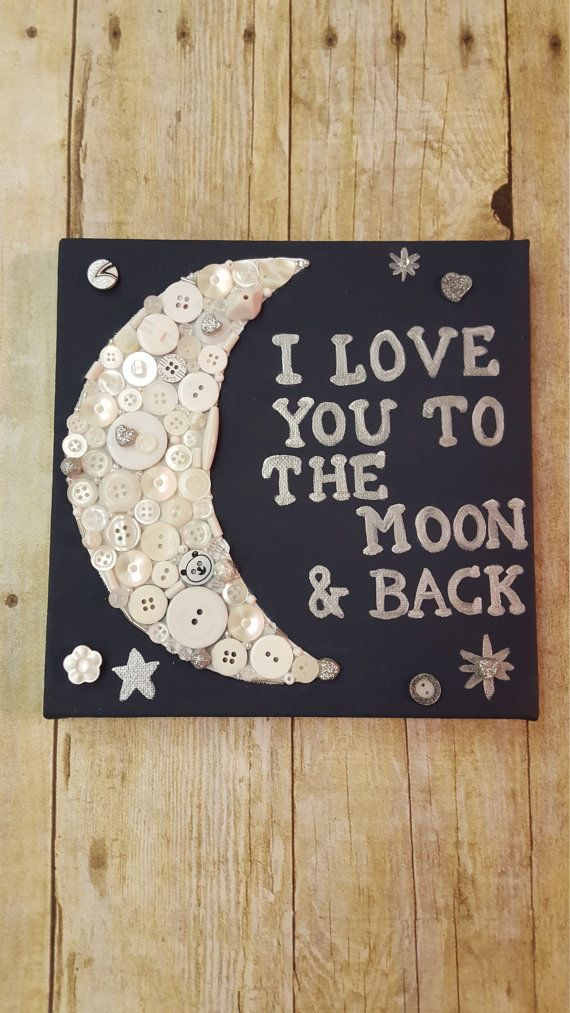 Nursery Button Art I Love You To the Moon and Back on 8x8 canvas navy and white gift for baby mixed media, gift for boy, gift for girl, kids