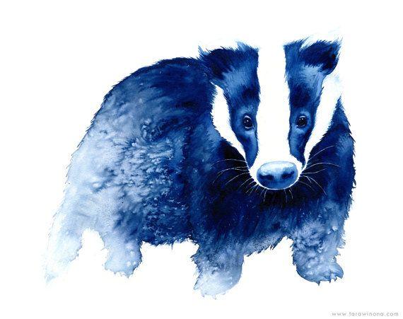 Badger Innocence - deep blue - modern watercolour animal art - A4 archival giclee print