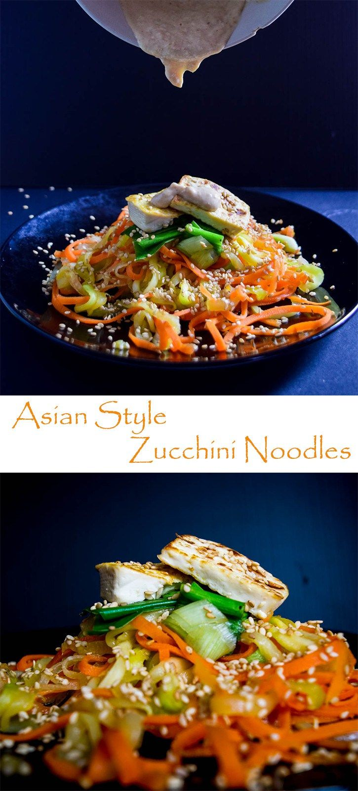Amazing Carrot & Zucchini Noodles with creamy peanut butter dressing. #vegan #glutenfree #zoodles #asian #Thai # sesame