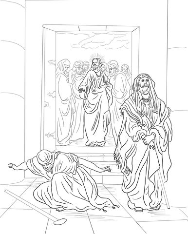 Pharisee and Tax Collector coloring page from Jesus' parables category. Select from 22052 printable crafts of cartoons, nature, animals, Bible and many more.