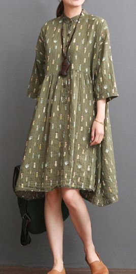 Tea green maternity dress for summer cotton plus size sundress