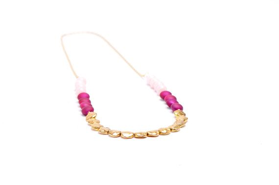 Gold and Pink Color Block Necklace  Long by DixieJaneJewelry