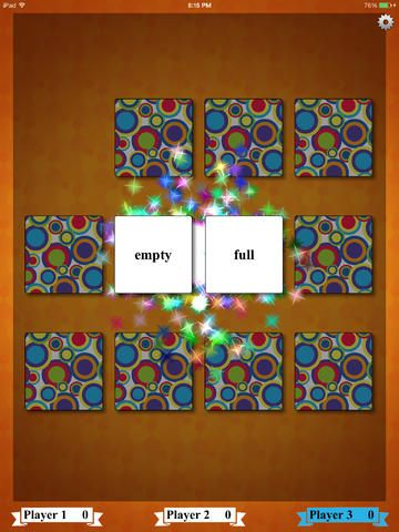 Antonym Match ($0.00) an interactive, educational, fun match game for school age children, adults and lifelong learners. This app would also be beneficial for English Language Learners! The object of the game is to reveal pairs of Antonyms by turning over the cards. Antonyms are words with opposite meanings. * Choose from three levels of difficulty. * Choice of four different game boards. * The game can be enjoyed by up to four players