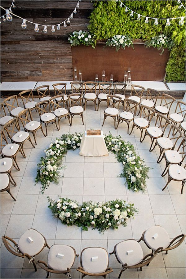 Luxurious green and white ceremony in a round | Boho Beach Wedding at Seven4one via @flowersbycina, pics by Nicolette Moku Photography