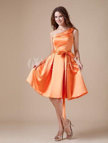Vintage laranja cetim um ombro joelho comprimento vestido dama de honra - Milanoo.com