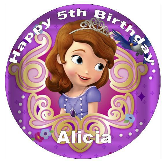 "Disney Sofia The First Personalised Cake Topper 7.5"" Wafer Paper Birthday Partys"