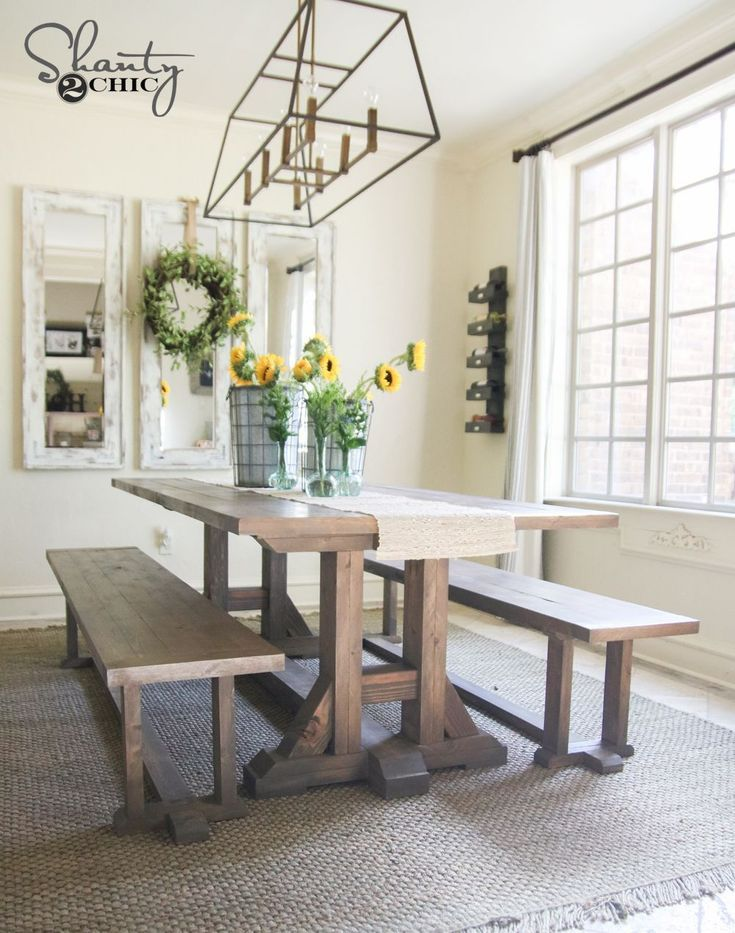 11 Free Farmhouse Table Plans for the Beginner: Free Pottery Barn Inspired Farmhouse Table Plan from Shanty 2 Chic