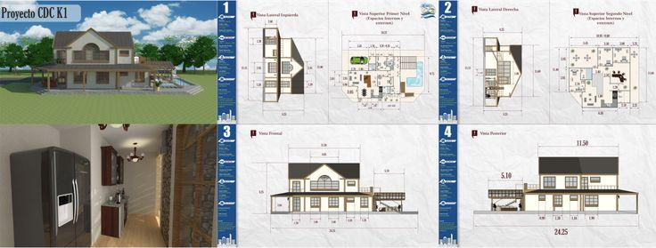 #kilotapias #espaciohonduras Diseños y planos de Casa de Campo Dos Niveles proyecto CDC K1, http://www.espaciohonduras.net/disenos-y-planos-de-casas-de-campo-de-uno-y-dos-niveles-sketchup-autocad-k1
