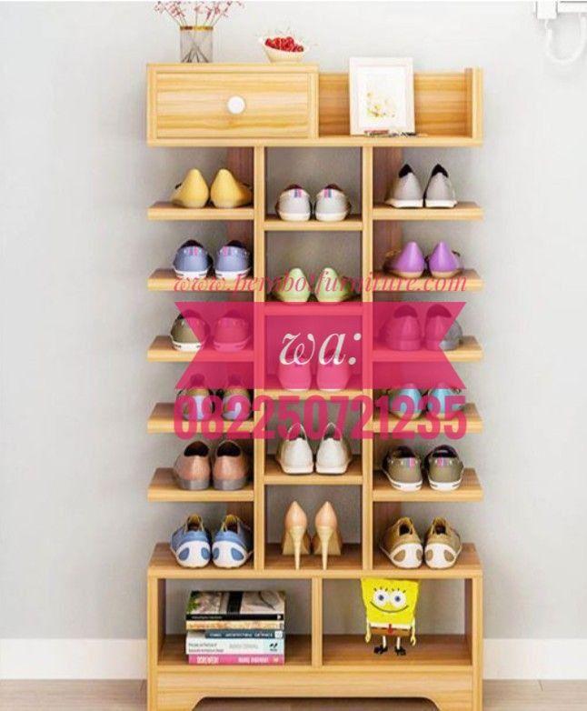Rak Sepatu Minimalis Modern Perabot Furniture Mirror Pigura Kaca