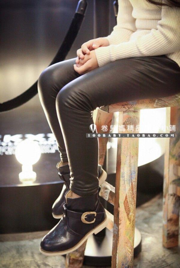 Шикарный девушки зима искусственная кожа узкие брюки начесом внутри детской загрузки одного-сократить карандаш штаны черные кожаные штаны