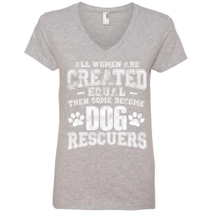 Women Equal Dog Rescuers - Ladies V Neck