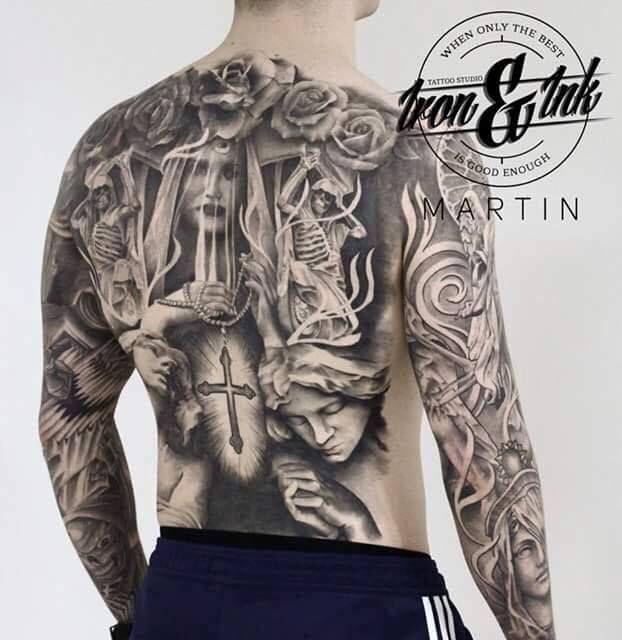 Religious back piece  Artist - Martin Rothe  Website: https://www.facebook.com/Martinrotheironink/?fref=ts