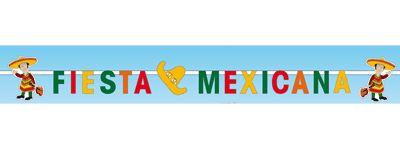 Letterslinger van Mexico met de tekst, Fiesta Mexicana. Materiaal: papier/karton. Formaat Mexicaanse slingers: 15 x 260 cm. De Mexicaanse letterslinger is brandvertragend.