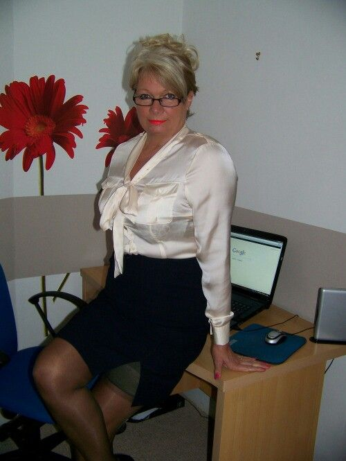 Mature Old Buisness Women In Satin Blouse 16