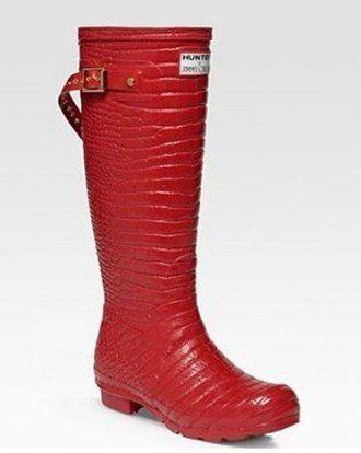 Hunter & JC Crocodile - Präglat Red vulkaniserat gummi Wellington Rain Boots H48 S.Kr 1,551 köpa på http://www.hunterstovlar.com/