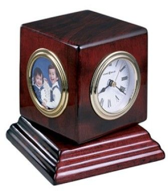 HIGH GLOSSY PICTURE FRAME PIANO WOOD FINISH QUARTZ CLOCK /& THERMOMETER// HUMIDITY