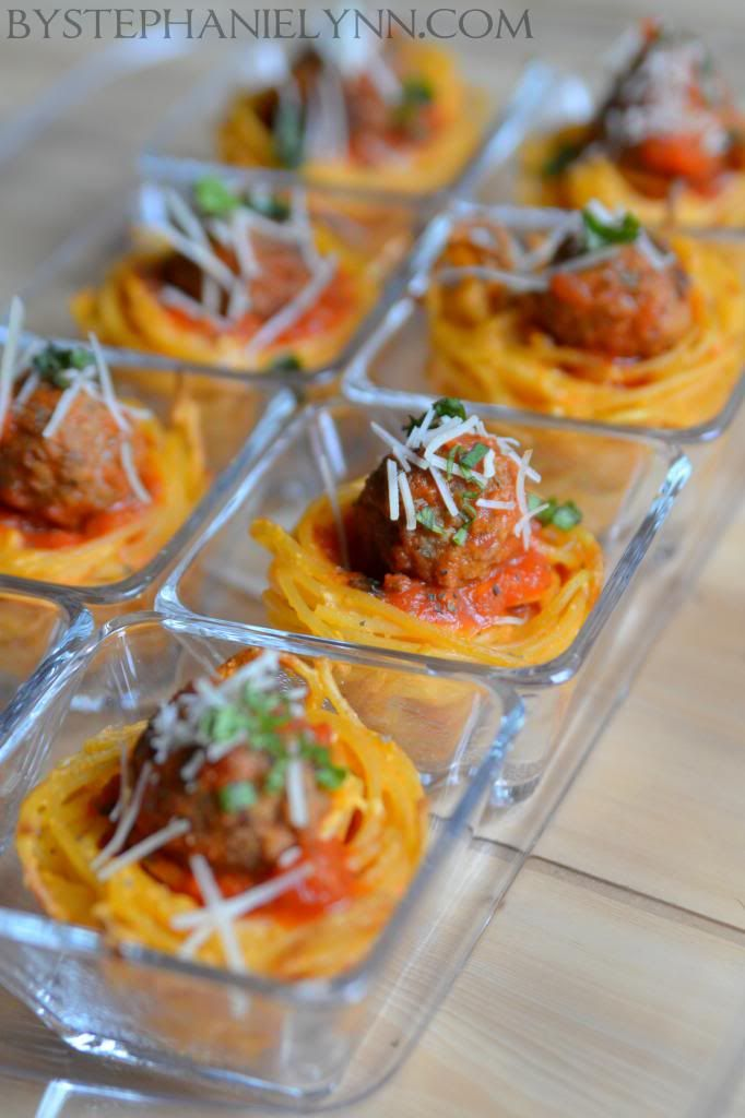 Spaghetti and Meatball Pasta Cups Recipe | Pasta Cupcake Finger Food - bystephanielynn